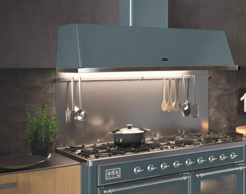 ILVE Majestic 60 Inch Wall Mount Convertible Hood (UAM150) - Blue Grey Range Hood Fixed in Kitchen