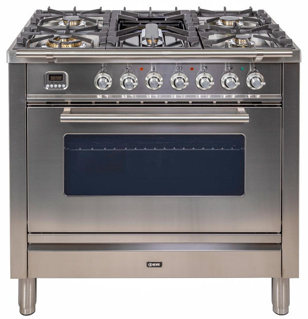ILVE Professional Plus Series 36 Inch Freestanding Range Gas/Propane (UPW90FDVG) with Chrome Trim