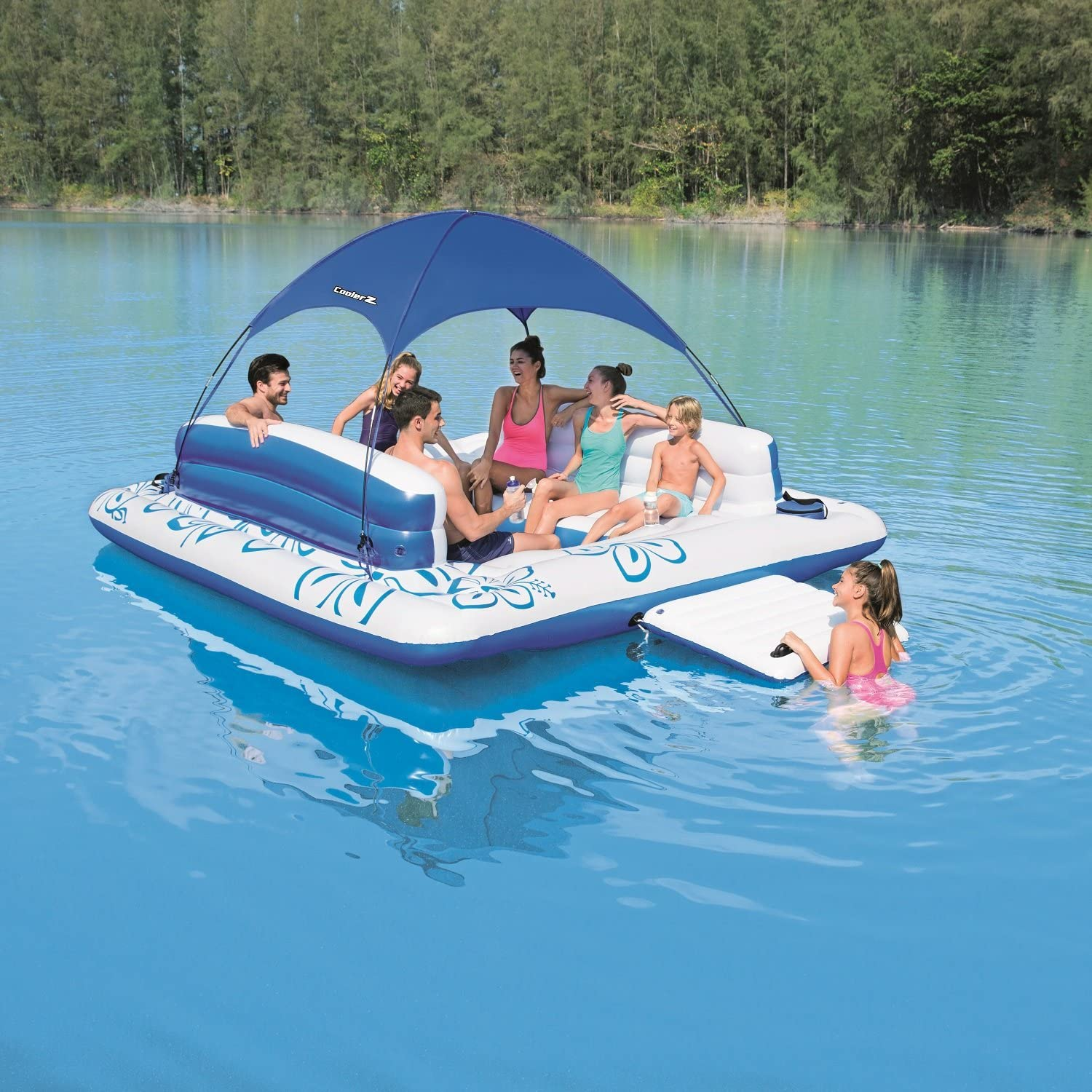 Large Inflatable Floating Island 8-Person UV Sun Shade Lounge Raft - Morealis