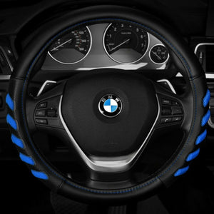 Premium Soft Steering Wheel Cover Leather Car Wheel Wrap Black Blue - Morealis