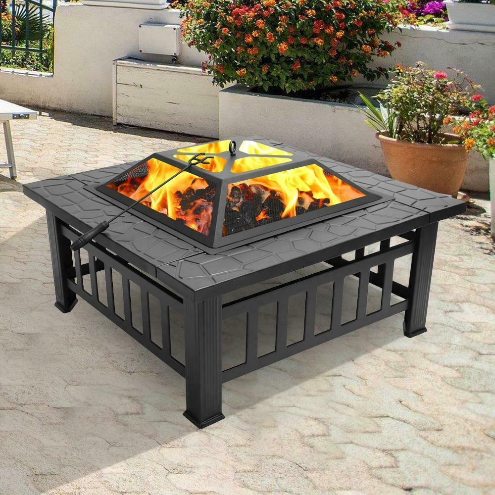 Modern Firepit Table Natural Outdoor Patio Coffee Deck Fire Pit - Morealis