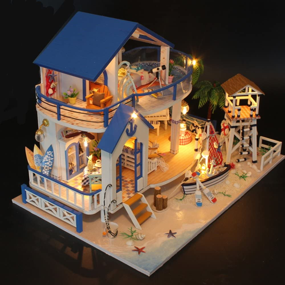 Girls Dream House DIY Miniature Dollhouse Kit Mini LED Music Chip - Morealis