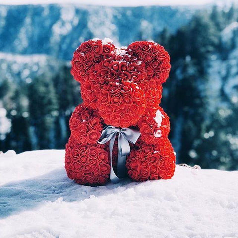 red luxury rose bear