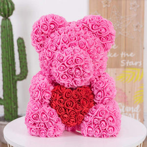 Rose Bear Teddy Bear Cub Red Forever Artificial Rose Anniversary Christmas Valentines - Morealis