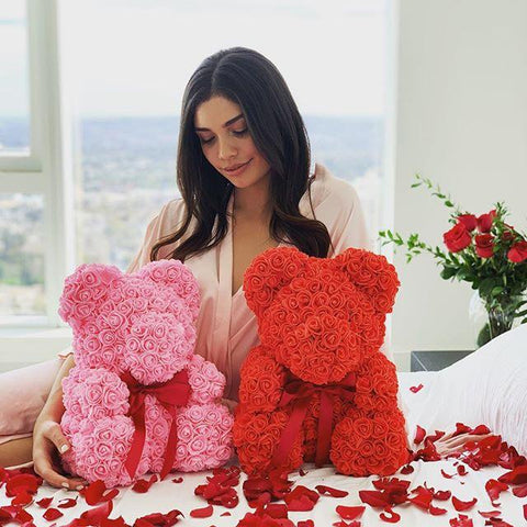 luxury rose teddy bear red pink