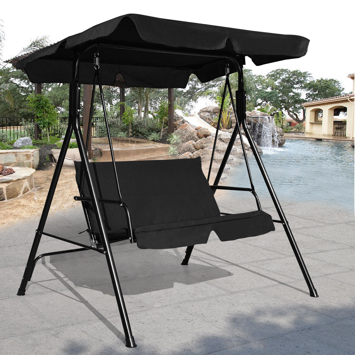 Outdoor Porch Patio Swing Hanging Canopy Hammock with Stand for Two - Morealis
