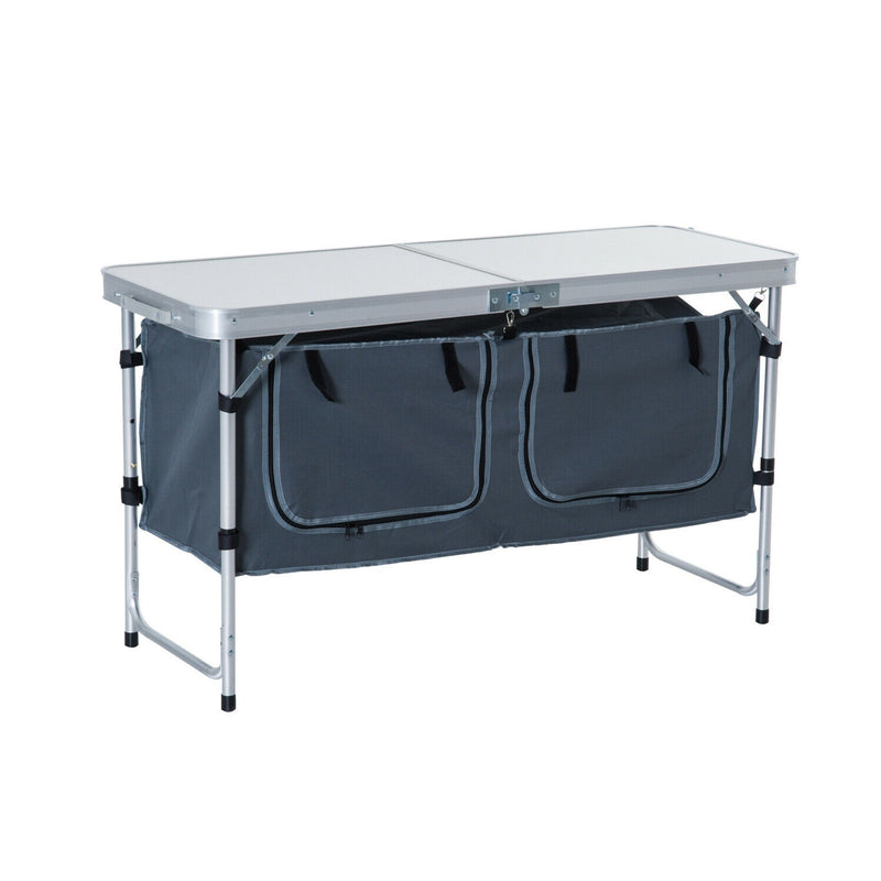 Outdoor Portable Aluminum Camping Picnic Folding Table w/ Storage Organizer