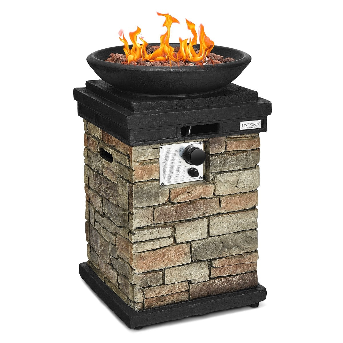 Outdoor Propane Burning Fire Bowl Column Realistic Look Firepit Heater - Morealis