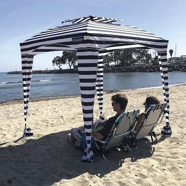 Striped Beach Cabana Tent Pop Up Canopy Sun Shade Umbrella For Beach - Morealis