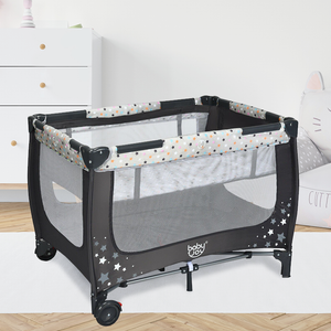 Portable Baby Playpen Play Yard Crib with Mattress Foldable Design - Morealis