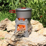 Outdoor Portable Camping Wood Stove Small Burner Gas Cooking Stove - Morealis