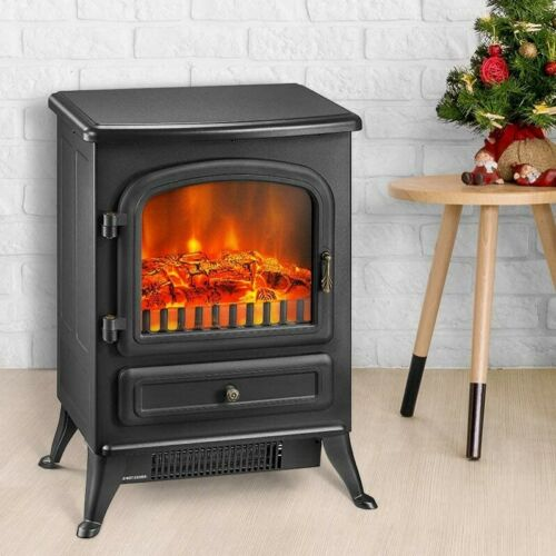 Portable Electric Fireplace Heater Stove with Realistic Flame 1500W - Morealis