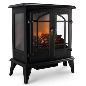 Portable Electric Fireplace Infrared Space Heater Log Wood Stove 1400W - Morealis