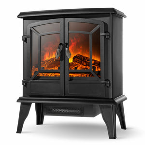 Portable Electric Fireplace Outdoor Infrared Realistic Flame Space Heater - Morealis
