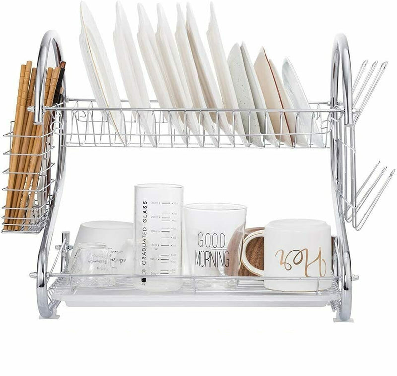 Premium 2 Tier Dish Drainer Drying Rack Kitchen Storage Organizer - Morealis