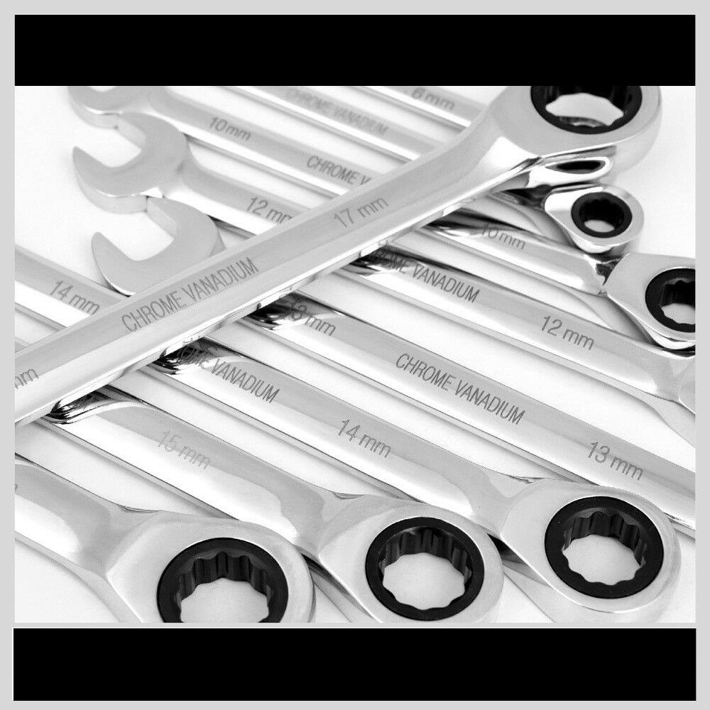 Premium 20pc Flat Ratcheting Wrench Combination Spanner Tool Case Set - Morealis
