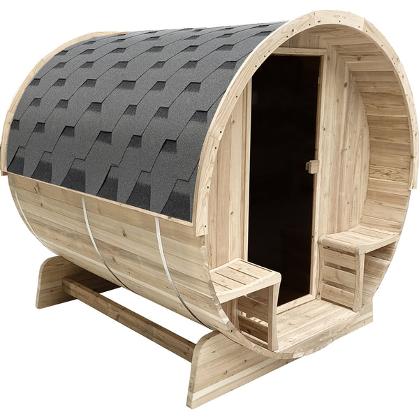 Premium Aleko 6 Person Outdoor Barrel Round Sauna with Bitumen Shingle Roofing - Morealis