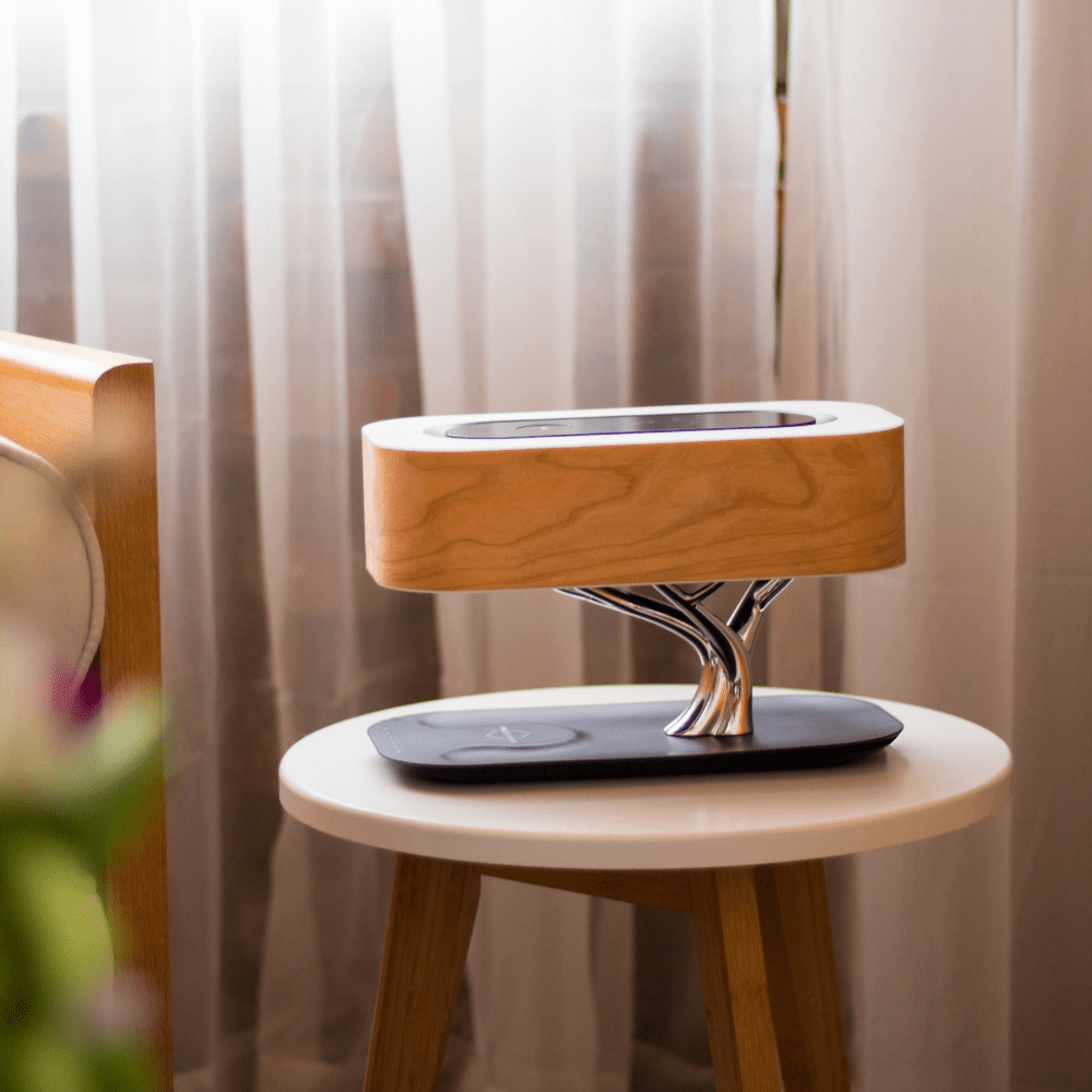 WanderLust Bedside Lamp Night Stand Table Bed Lamp Touch Bluetooth Speaker and Wireless Charger - Morealis