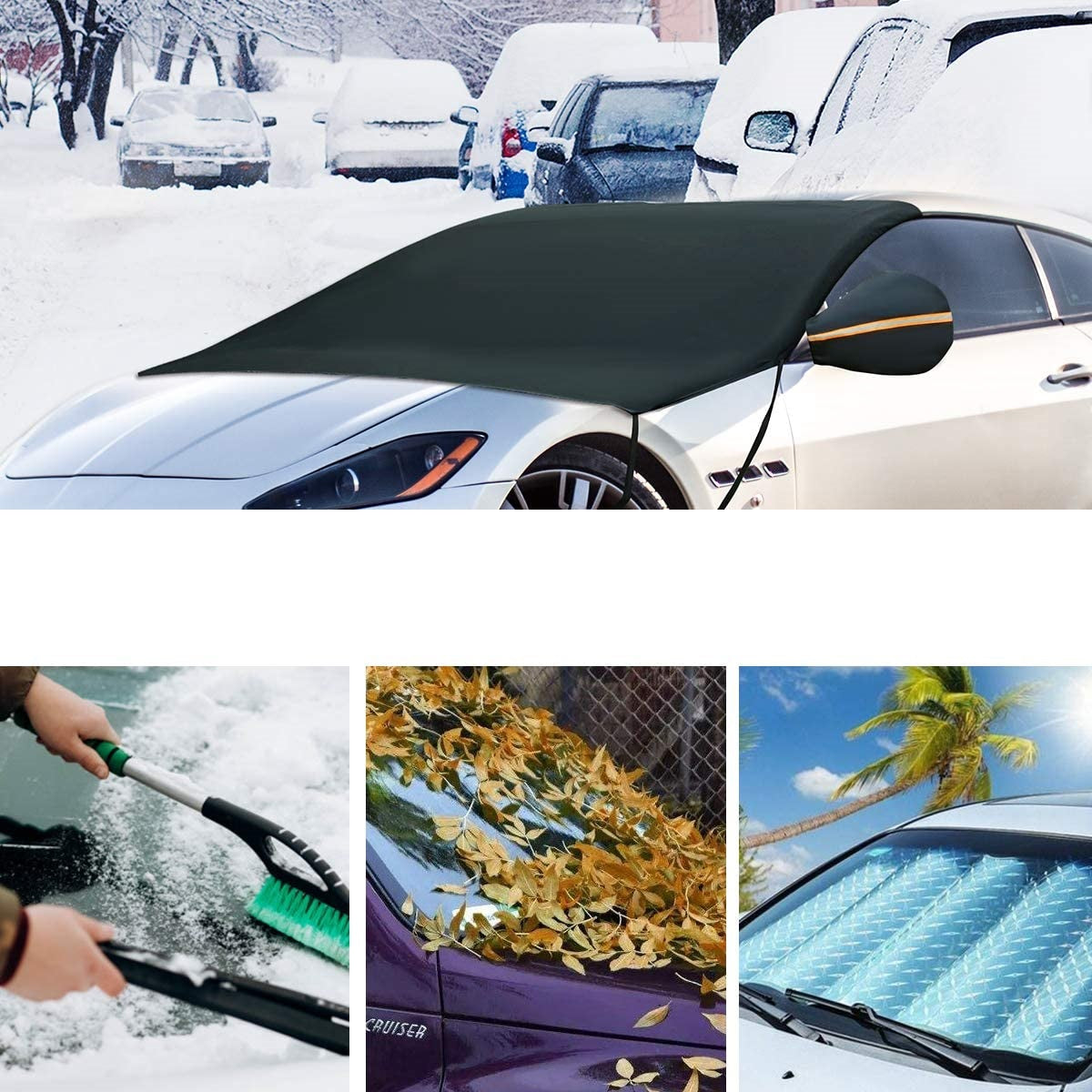 Premium Car Windshield Snow Cover with Rearview Mirror and Hooks - Morealis