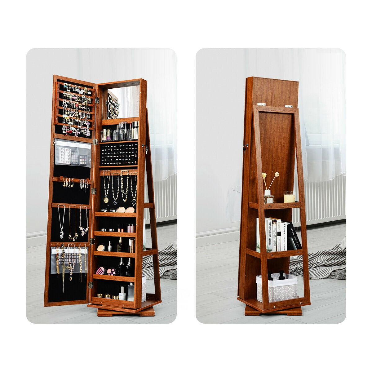 Premium Coffee Jewelry Cabinet Armoire 2-in-1 Lockable Mirrored Organizer - Morealis