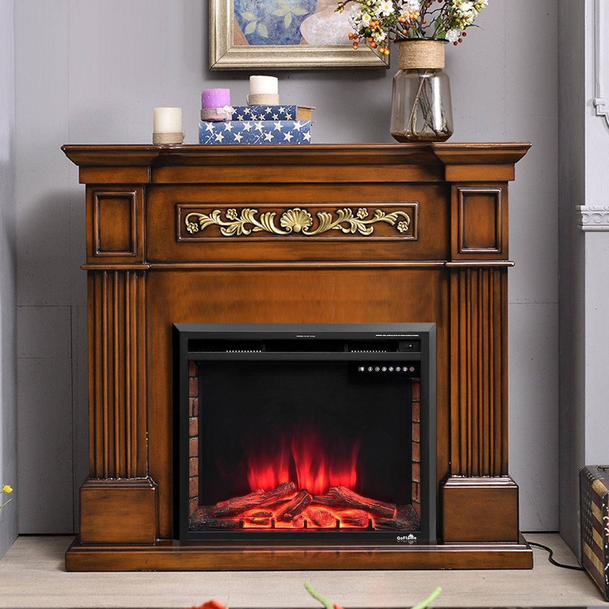 Premium Electric Fireplace Embedded Heater Wall Mounted 1500W Fireplace - Morealis