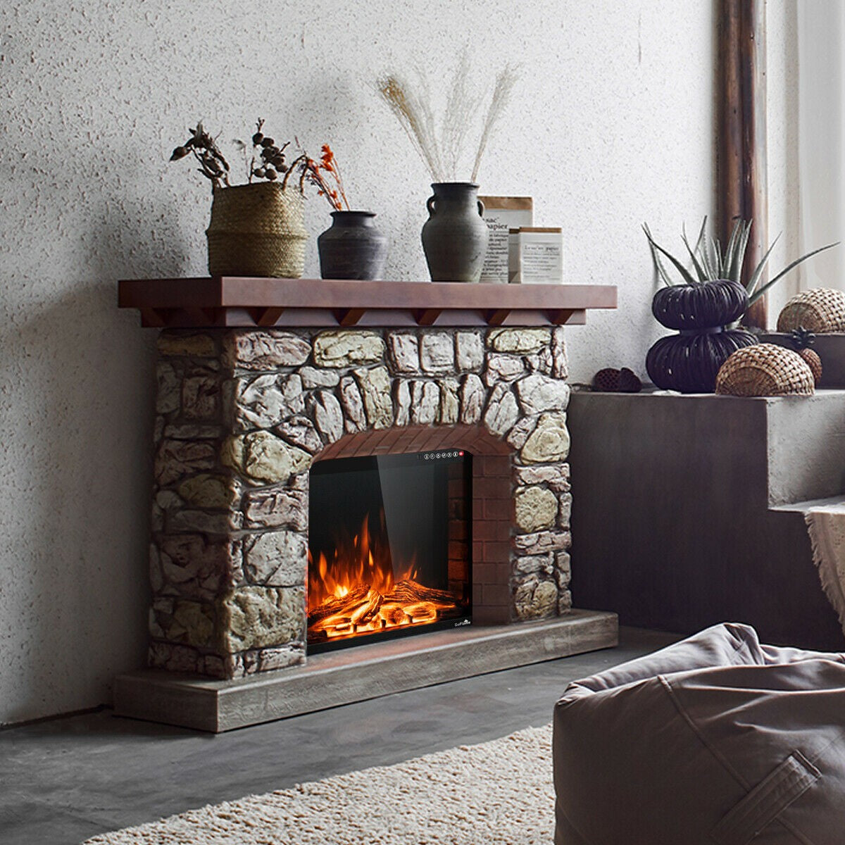Premium Embedded Fireplace Insert Electric Wall Space Heater 1500W 26in