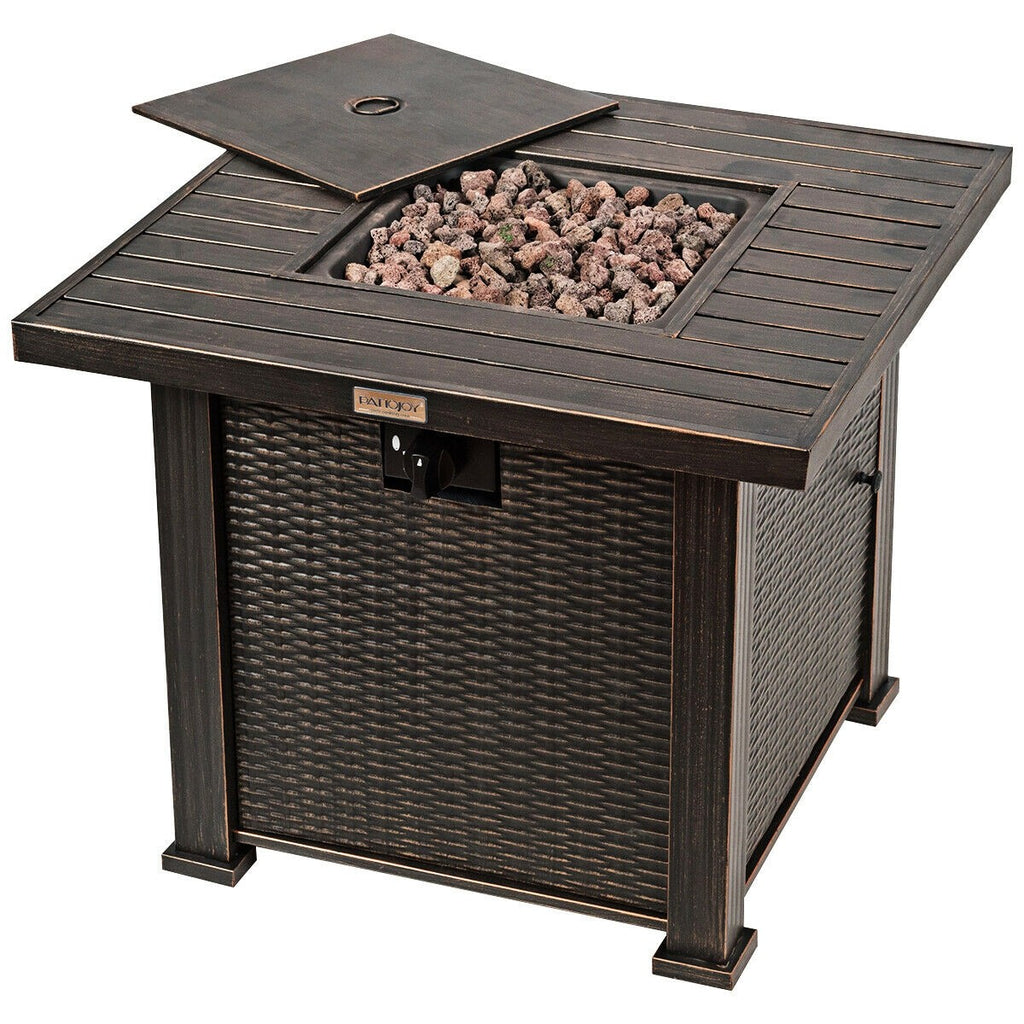 "Premium Fire Pit Table Propane Gas Outdoor Fire Pit Square Table 30"" - Morealis"
