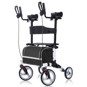 Premium Folding Upright Rollator Walker 4 Wheel Medical Aid Seat & Back - Morealis
