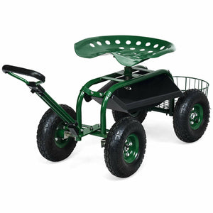 Premium Garden Cart Yard Lawn Heavy Duty Work Seat with 360 Swivel - Morealis