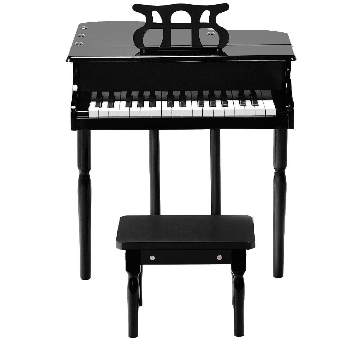 Premium Kids Play Wooden Grand Piano 30-Key with Bench - Morealis