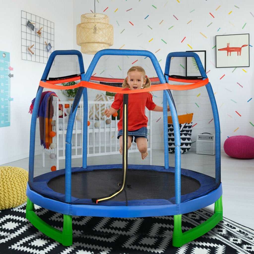 Premium Kids Toddler Trampoline Indoor Outdoor Mini Small Trampoline with Net, 7FT - Morealis