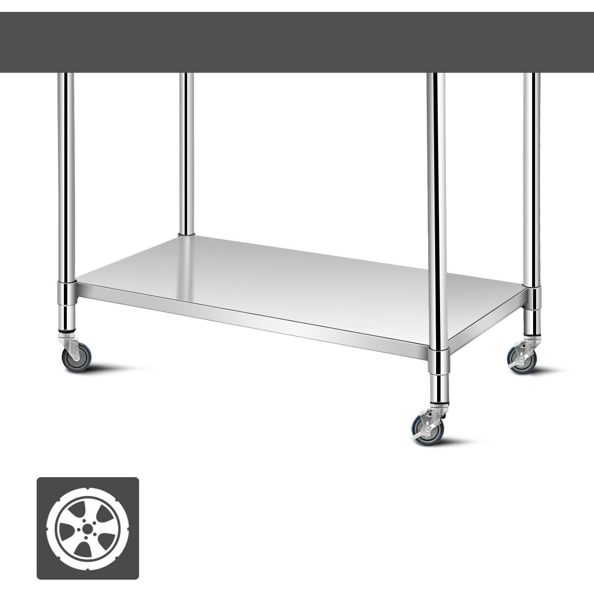 Premium Kitchen Prep Rolling Work Table Stainless Steel 30x48in - Morealis