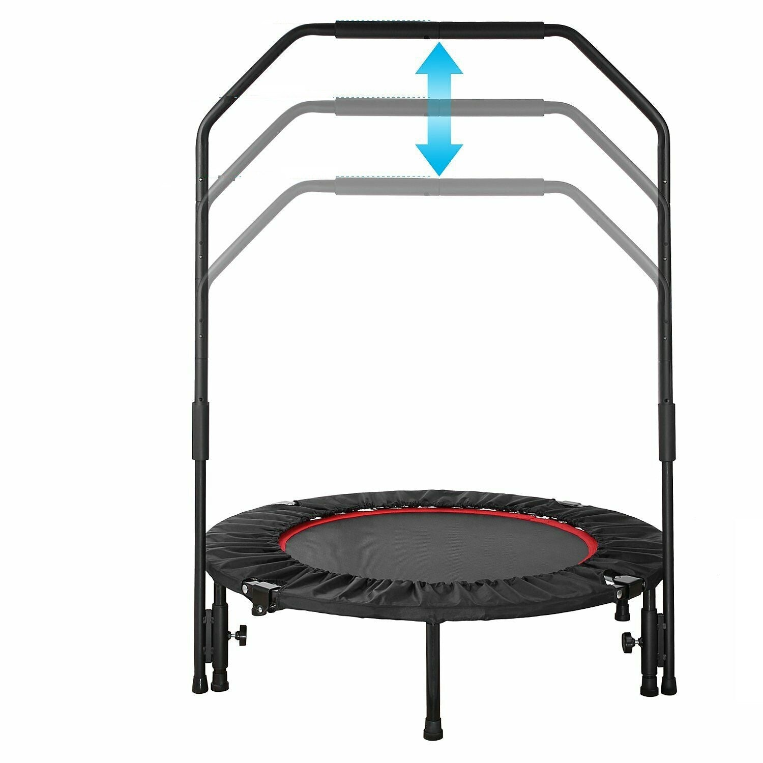 Premium Mini Foldable Trampoline With Bar Urban Rebounder Bouncing Exercise - Morealis