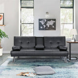 Premium Modern Faux Leather Futon Sofa Bed Recliner Couch - Morealis
