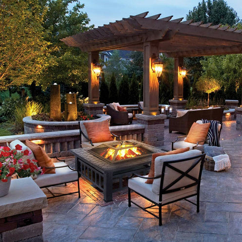 outdoor fireplace firepit table