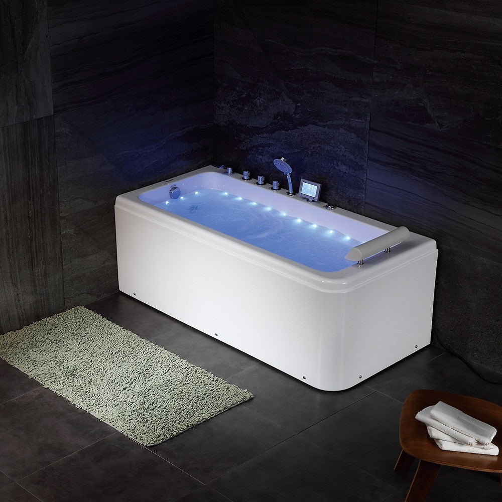 "Premium Modern Jetted Bathtub Soaking Deep Large Whirlpool Homary Acrylic 67"" - Morealis"