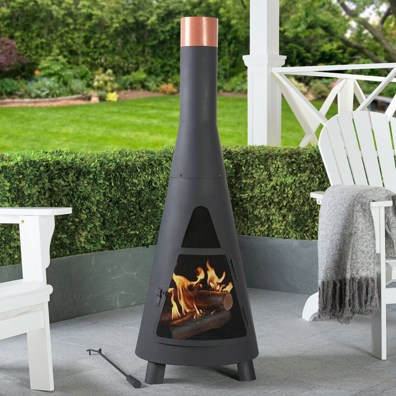 Premium Outdoor Fireplace Steel Chiminea Patio Modern Tall Wood Burner - Morealis