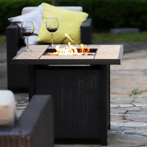 Premium Outdoor Propane Patio Heater Gas Fire Pit Blue Table Glass - Morealis