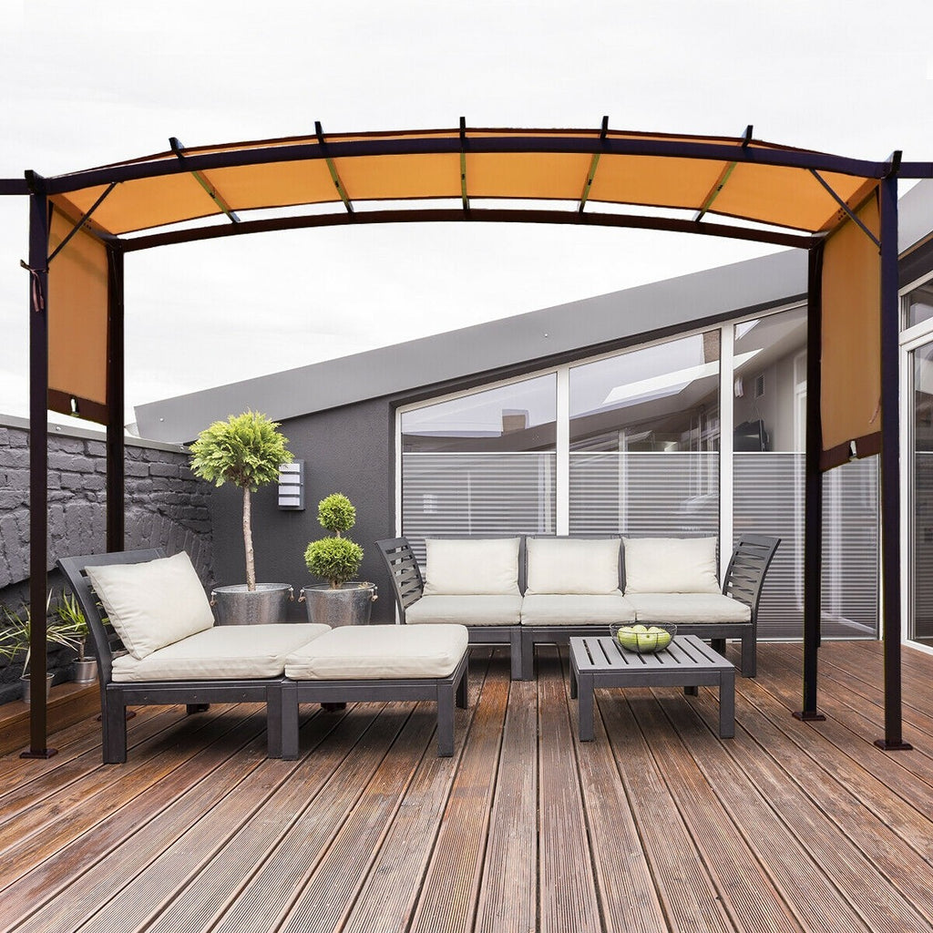 Premium Pergola Kit Retractable Metal Frame Grape Gazebo Canopy Cover - Morealis