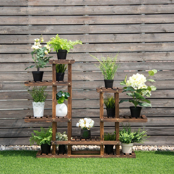 Premium Plant Stand Outdoor Indoor Wooden Tiered Plant Shelf - Morealis