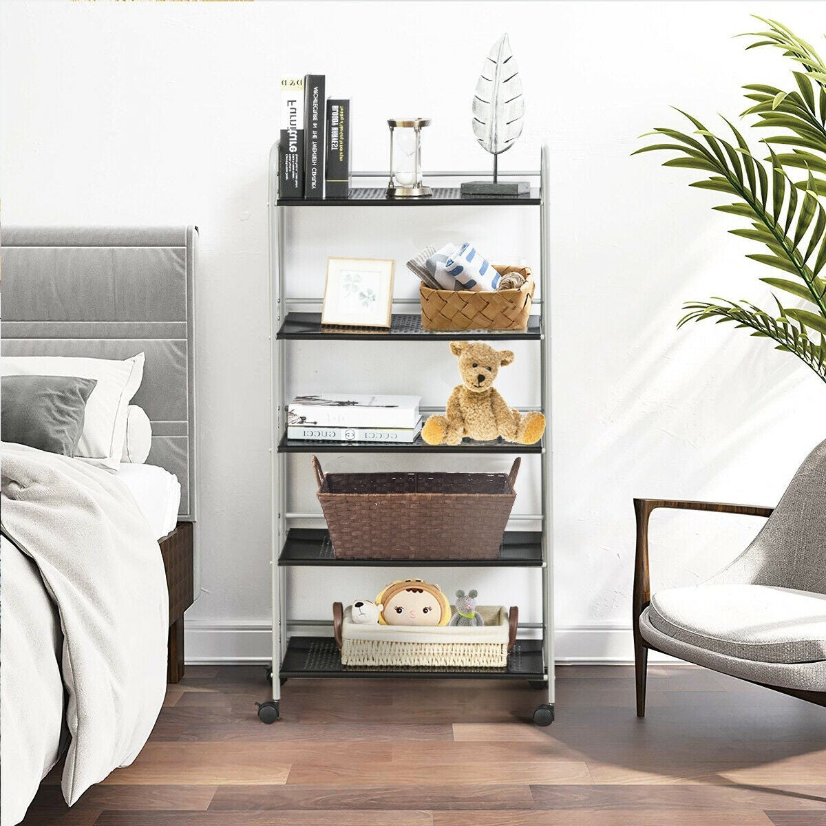 Premium Rolling Shelves Organizer Utility Cart Rolling for Storage Bedroom Living - Morealis