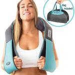 Premium Shiatsu Neck and Shoulder Massager Back Kneading Massager with Heat (Blue) - Morealis