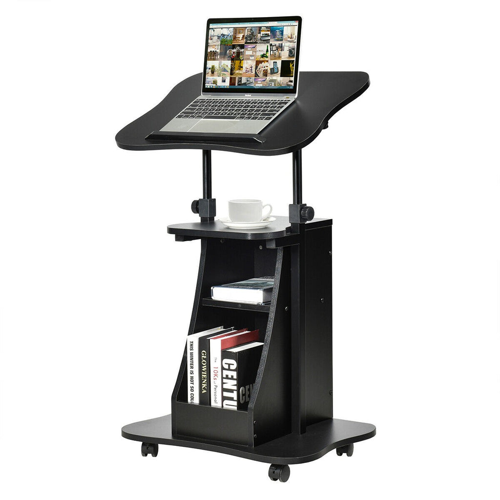 Premium Stand Up Desk Sit Stand Height Adjustable Laptop Cart Desk - Morealis