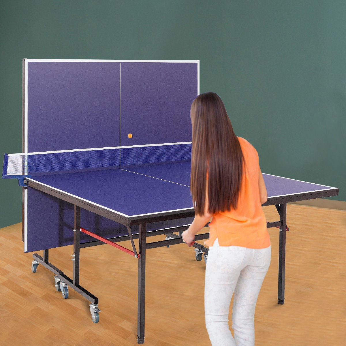 Premium Table Tennis Ping Pong Table Foldable Removable with Locking Casters - Morealis