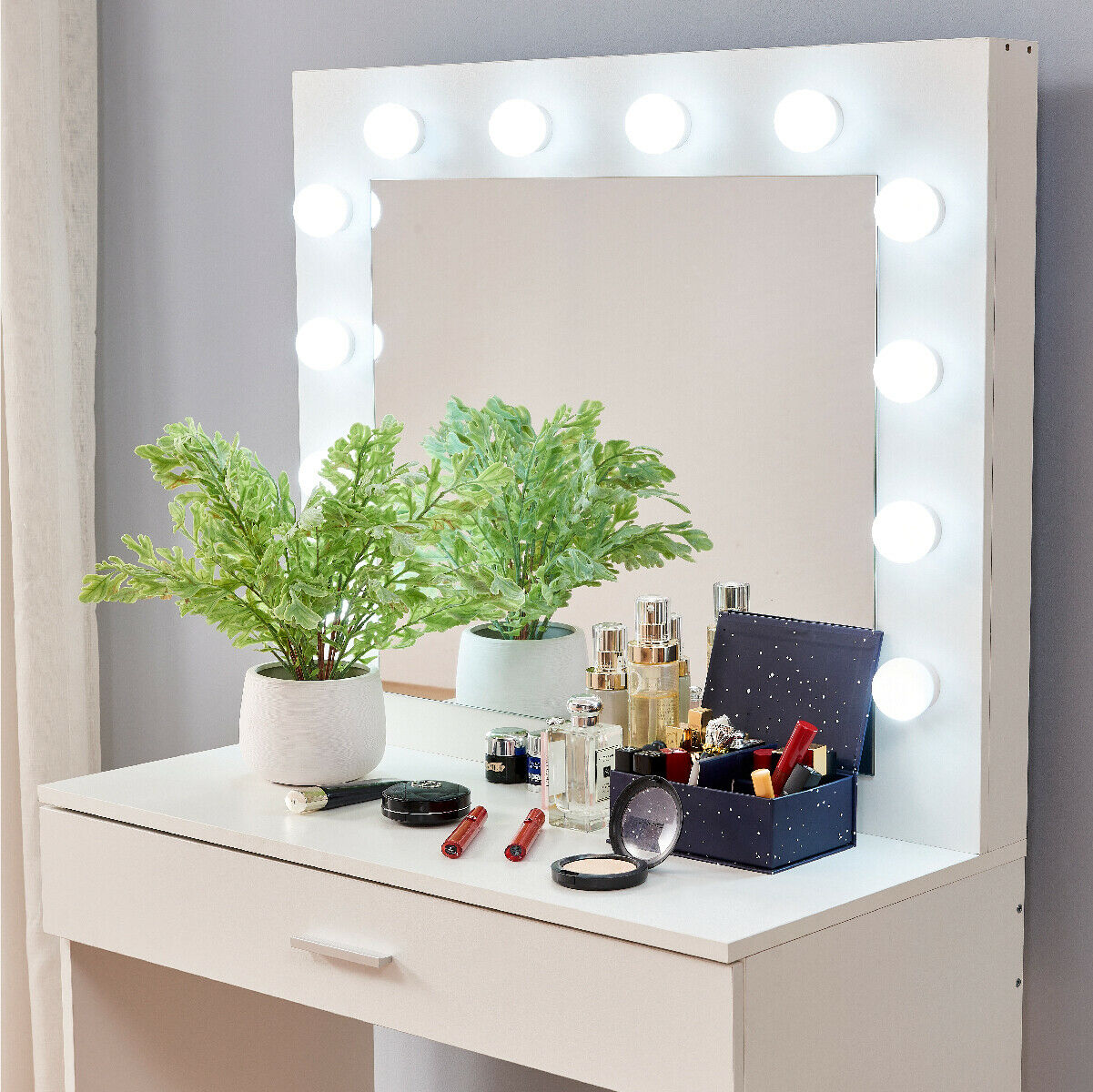 Premium Wood Makeup Vanity Dressing Table Drawer Set LED Lights - Morealis