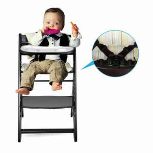 Premium Wooden Baby High Chair Adjustable with Removable Tray - Morealis