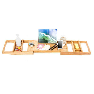 Premium Wooden Bath Tray Large Spacious Bamboo Caddy Rack - Morealis