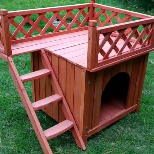 Premium Wooden Dog Kennel with Side Steps and Balcony - Morealis