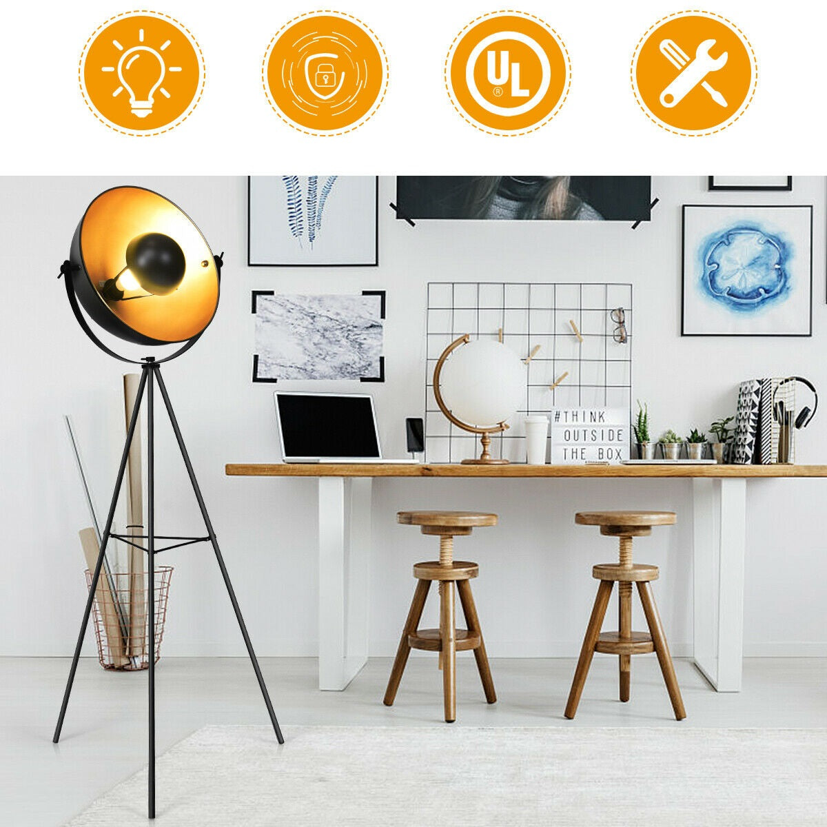 Satellite Style Industrial Floor Lamp Standing Spotlight Work Lamp