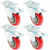 Set of 4 Polyurethane Caster Wheels Swivel Plate Total Lock Brake